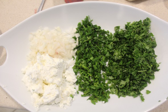 Another filling that I used is my favorite feta cheese filling with diced onions,thyme,and cilantro.